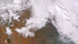 Texas record snowfall from space