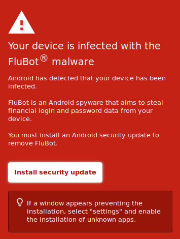 """An image meant to be displayed on a smartphone screen notifying the reader that 'Your device is infected with the FluBot malware""""."""