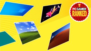 Windows wallpapers ranked imagery with PC Gamer logo and yellow background