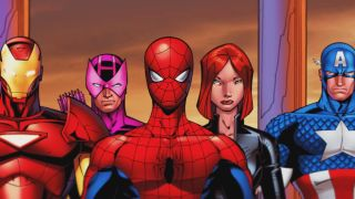 Iron Man, Hawkeye, Spider-Man, Black Widow, and Captain America