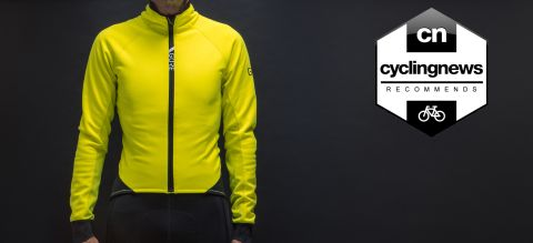 The front of the neon yellow Gore Wear C5 Gore-Tex Infinium Jacket