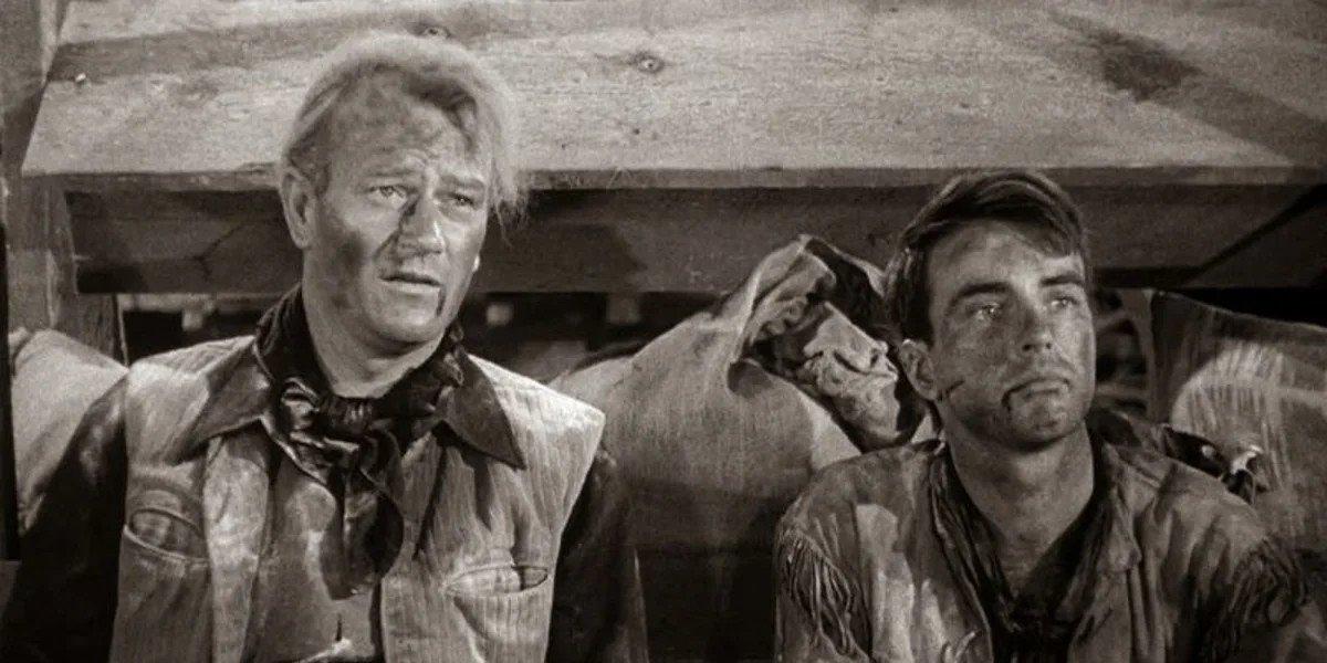 John Wayne on the left in Red River