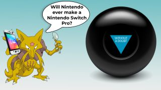 Magic 8-Ball being asked a question by Pokémon Alakazam