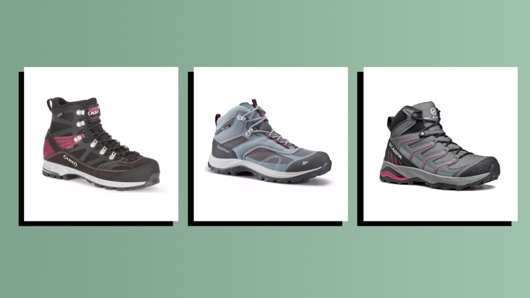 three of the best waterproof hiking boots on green background