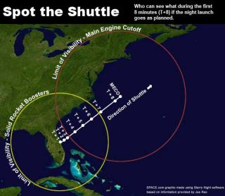 Night Shuttle Launch Visible from Most of East Coast