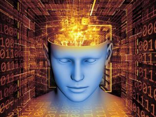 Illustration of human head with computer symbols coming out of head