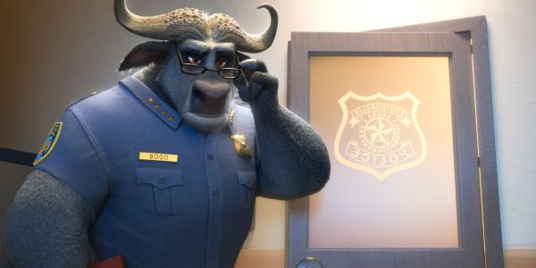 Chief Bogo looking stern in Zootopia