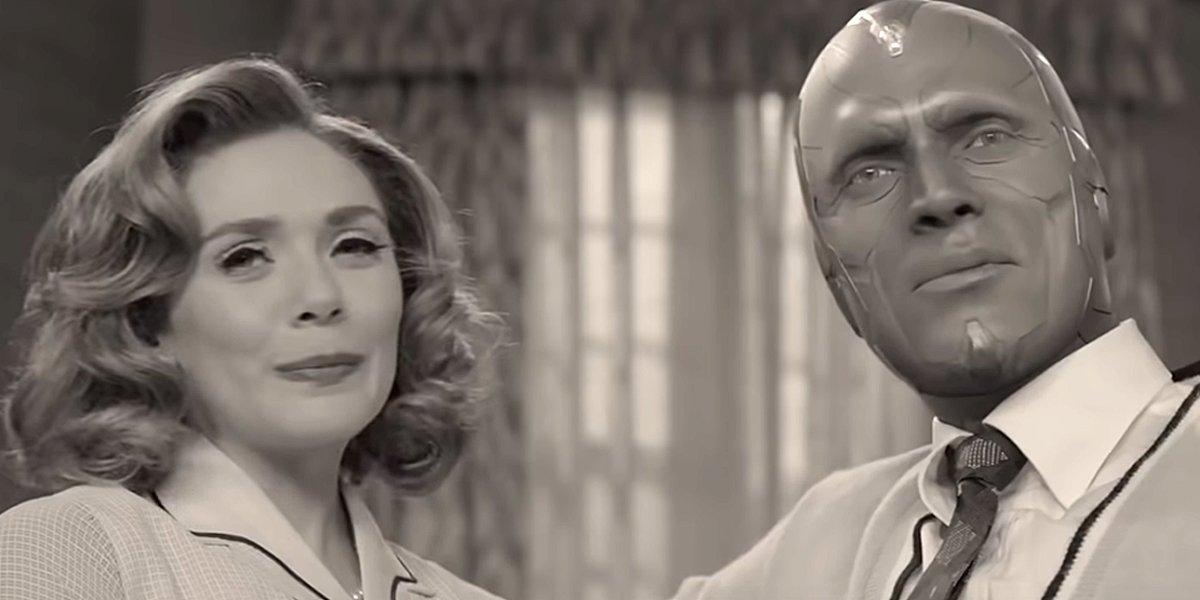 WandaVision Elizabeth Olsen and Paul Bettany black-and-white 1950s trailer screenshot Disney+ MCU Ma