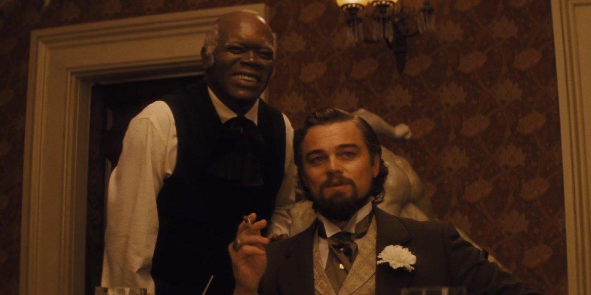 Samuel L. Jackson and Leonardo DiCaprio in Django Unchained