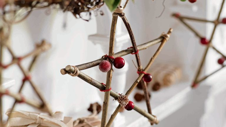 easy twig decorations for Christmas