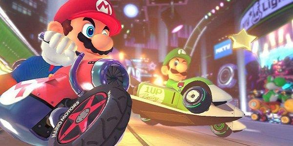 Mario and Luigi race Mario Kart