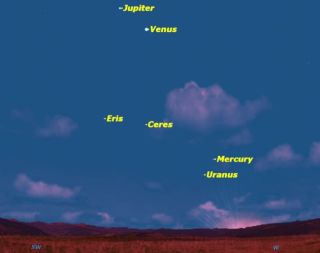 For the next few nights, bright Venus and Jupiter will be joined by other planets at dusk.