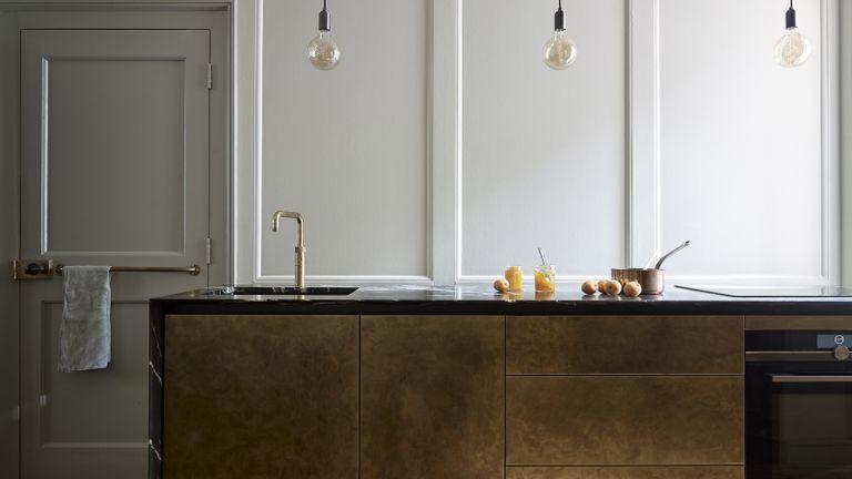 kitchen with metallic island