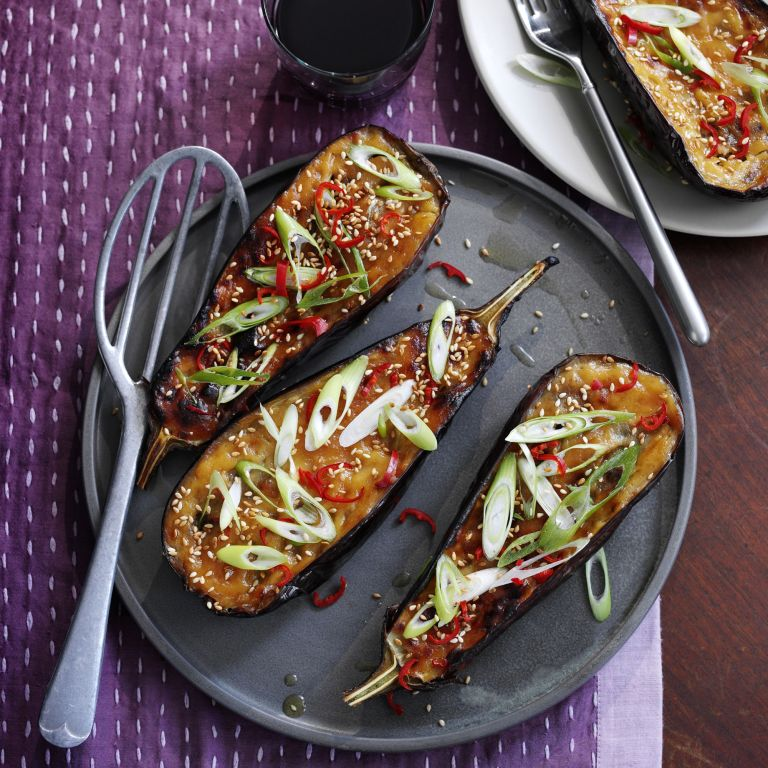 Grilled Miso Aubergine photo Madhouse Cookbook by Jo Pratt