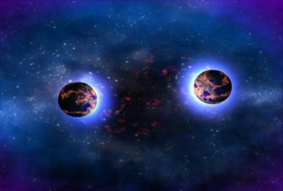 An artist's depiction of neutron stars preparing to collide.