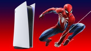 A Sony PlayStation 5 and Spider-Man on a gradient red and blue background.
