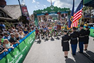 Riders and fans at todays start in Park City