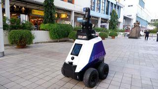 An Xavier Robot On Patrol In Singapore