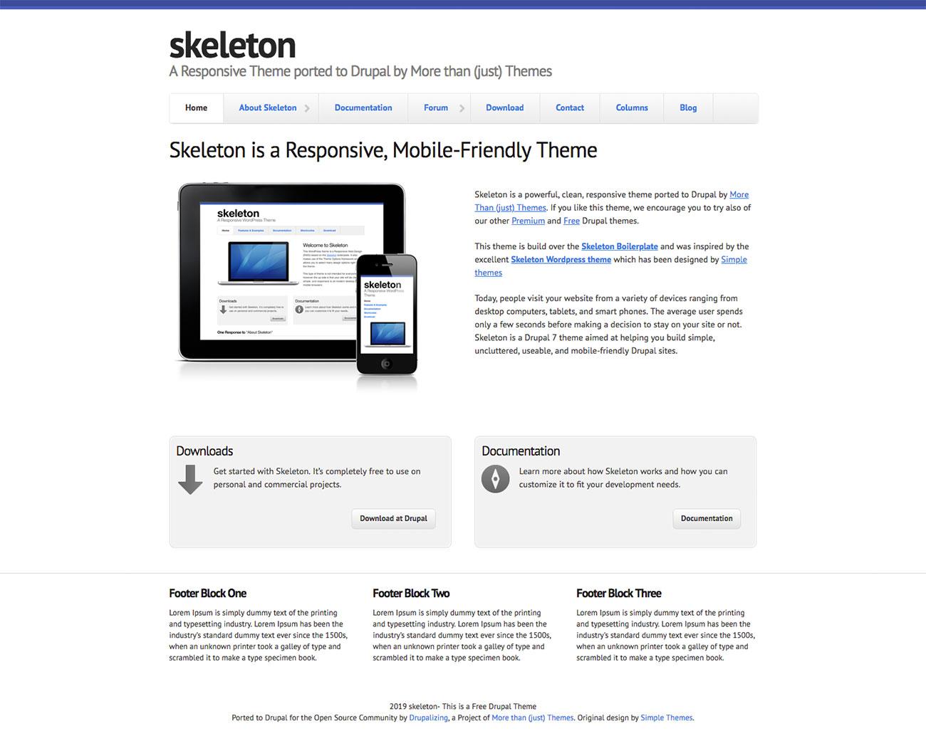 Free Drupal themes: Skeleton