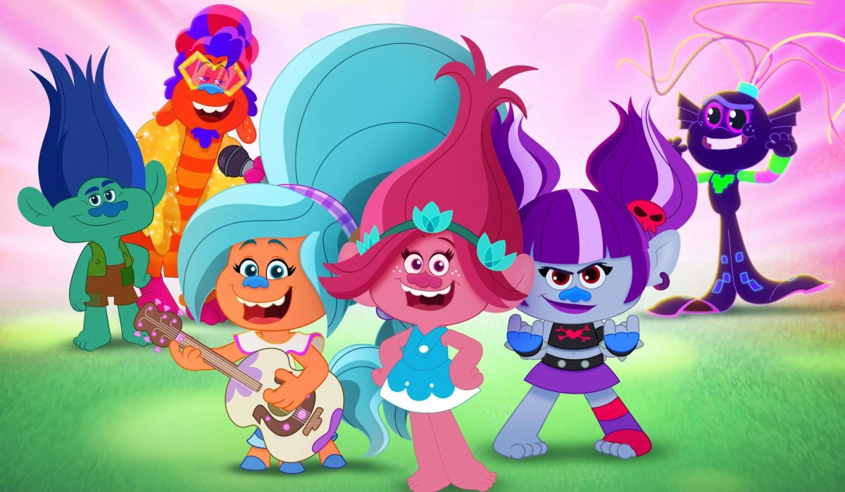 Poppy and the Trolls lined up for music in Trolls: Trollstopia.