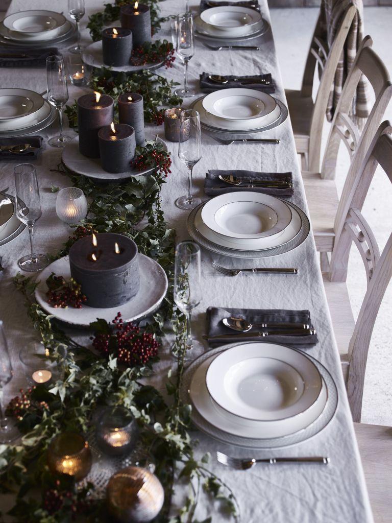 Scandi style Christmas table settings