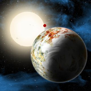 "An artist's illustration of the mega-Earth planet Kepler-10c, the""Godzilla of Earths"" planet that is 2.3 times the size of Earth and 17 times heavier."