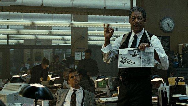 Brad Pitt and Morgan Freeman in Se7en