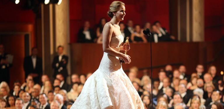 Jennifer Lawrence onstage for Oscars speech after winning the award for Actress in a Leading Role during the Oscars held at the Dolby Theatre on February 24, 2013 in Hollywood, California