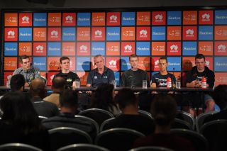 The main favourites line up to meet the press ahead of the 2020 Tour Down Under