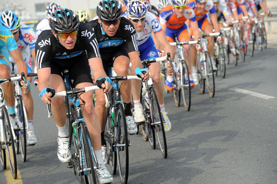 Ian Stannard and Jeremy Hunt in the escape, Tour of Qatar 2011, stage three