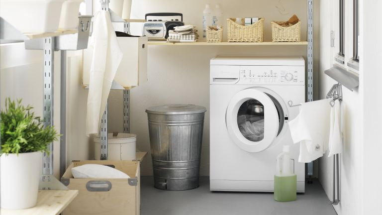 Laundry room with how to choose a washing machine advice by Ikea