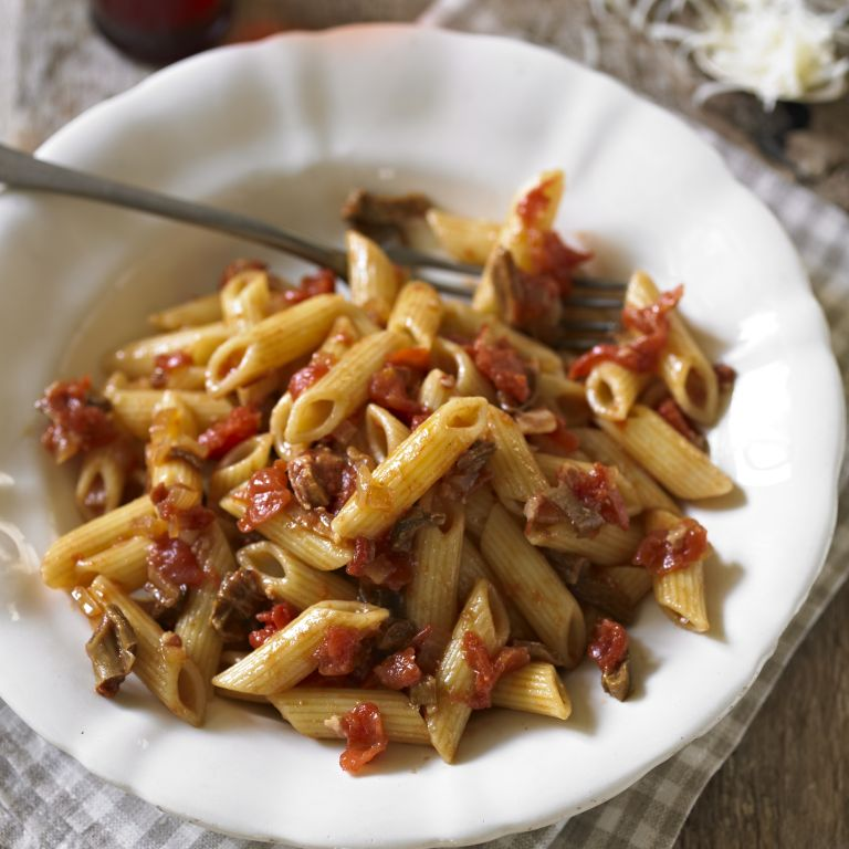 photo of Penne with Tomato & Porcini Mushroom Sauce