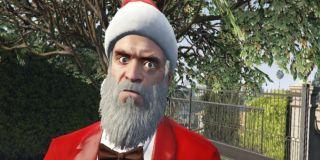 A wild-eyed Santa