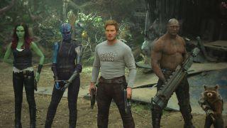 From left: Zoe Saldana, Karen Gillan, Chris Pratt, Dave Bautista, and Bradley Cooper (as the voice of Rocket) in Guardians of the Galaxy Vol. 2.