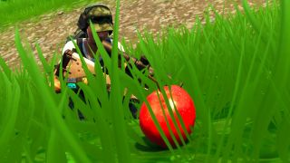 A Fortnite player stumbles upon a juicy red apple.