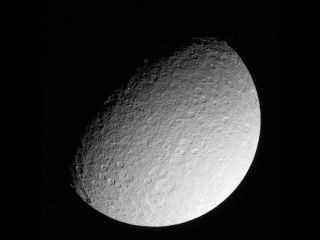 NASA's Cassini spacecraft has taken its last closeup photos of the icy Saturn moon Rhea.