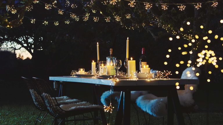 outdoor dinner party with backyard party lighting ideas from sparkle lighting