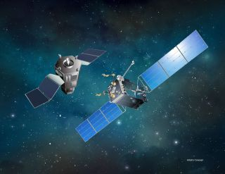 An artist's illustration of a satellite servicing spacecraft approaching its target. DARPA has selected Space Systems Loral as its commercial partner for the agency's Robotic Servicing of Geosynchronous Satellites program.