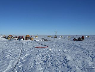 Researchers at Pine Island Glacier in Antarctica