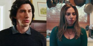 Adam Driver in Marriage Story and Lady Gaga in A Star Is Born both look concerned.