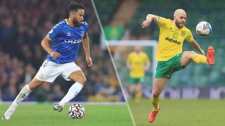 Andros Townsend of Everton and Teemu Pukki of Norwich City