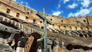 This cross was erected inside the Roman Colosseum as a monument to the suffering of early Christians in Rome.