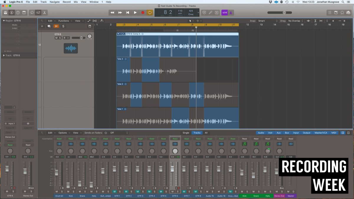 How to 'comp' multiple recordings onto one track