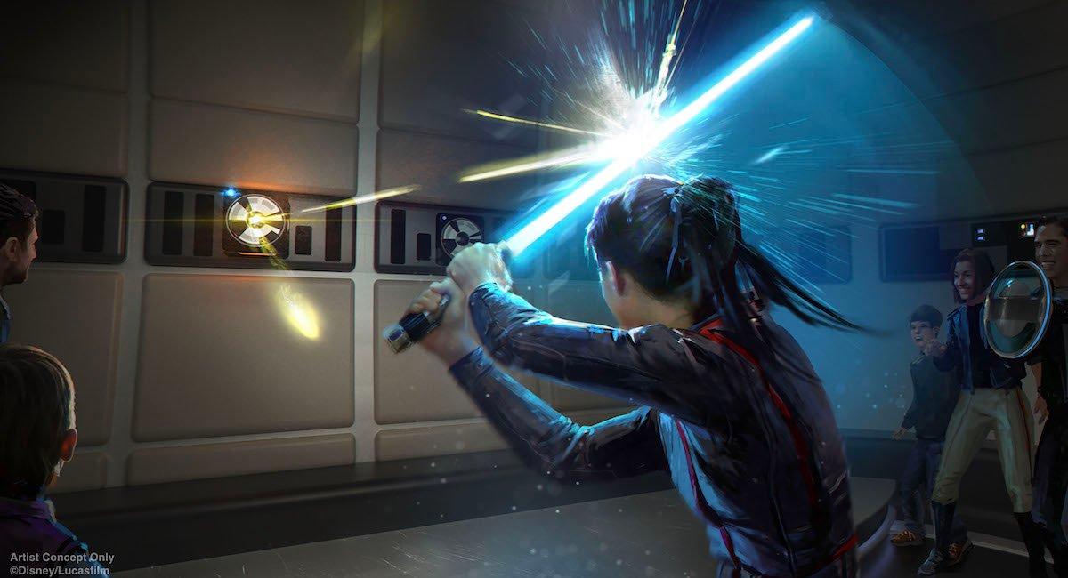 Galactic Cruiser concept art of lightsaber training
