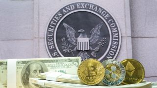 Stock image of money, cryptocurrencies in front of the Securities Exchange Commission