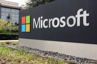 A logo marking the edge of the Microsoft corporate campus in Redmond, Washington.