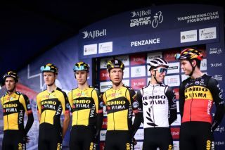 BODMIN ENGLAND SEPTEMBER 05 Wout Van Aert of Belgium George Bennett of New Zealand Chris Harper of Australia Pascal Eenkhoorn of Netherlands Gijs Leemreize of Netherlands Tony Martin of Germany and Team Jumbo Visma during the team presentation prior to the 17th Tour of Britain 2021 Stage 1 a 1808km stage from Penzance to Bodmin TourofBritain TourofBritain on September 05 2021 in Bodmin England Photo by Harry TrumpGetty Images