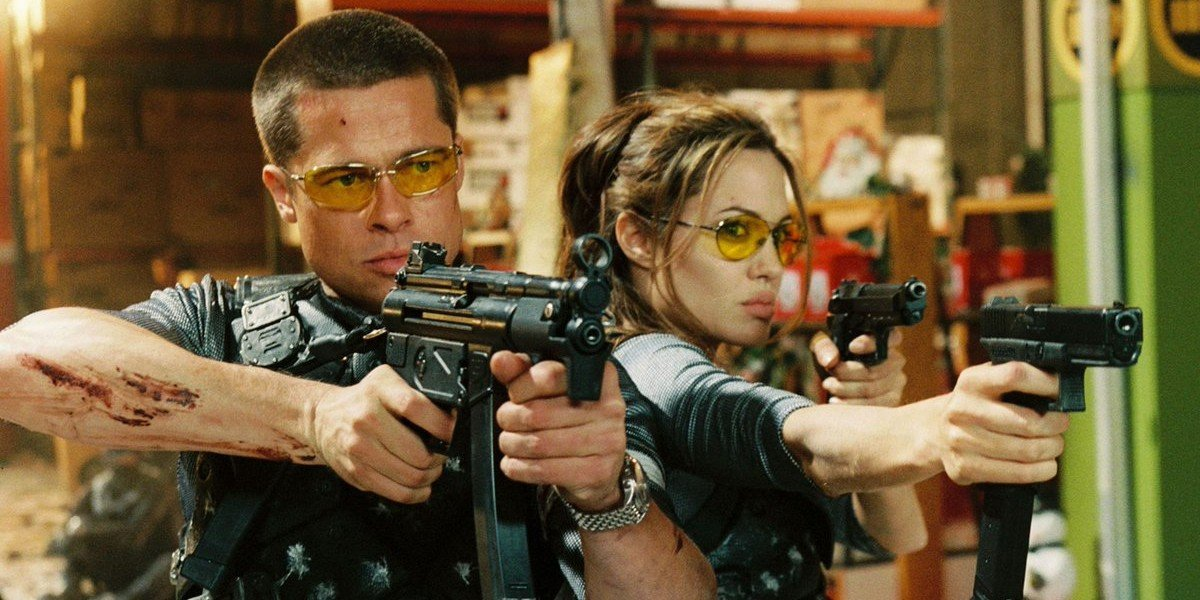 Brad Pitt as John Smith and Angelina Jolie as Jane Smith in Mr. and Mrs. Smith (2005)