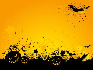 Illustration: Grinning pumpkins and bats on a fall-orange background.