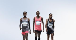 Lelisa Desisa (left), Eliud Kipchoge (center) and Zersenay Tadese (right) are the three athletes who will try to run a marathon in less than 2 hours as part of Nike's Breaking2 project.